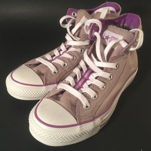 Converse all star gray purple high top sneakers 7